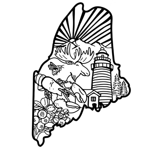 Maine Facts Coloring Page